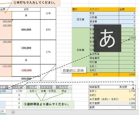 使いやすいExcel家計簿作成します お客様の使用項目に合わせて家計簿を作成します! イメージ1