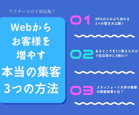 Web集客の『本質』を突く3つの方法を大公開します 集客/マーケティング/宣伝/広告/PR/売りたい/稼ぎたい イメージ1