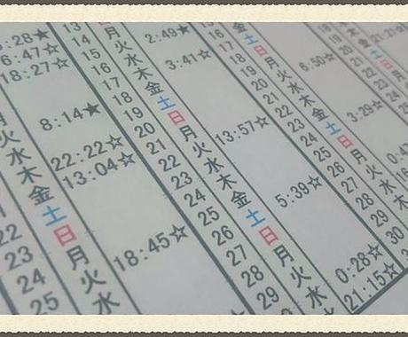 占星術にて恋愛に良い時間を割り出した暦を送ります 占いに興味がある方に最適です! イメージ1