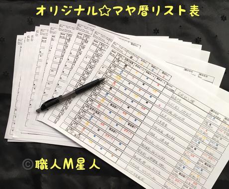 マヤ暦リスト表をPDFデータで販売いたします マヤ暦を勉強している人のための一覧表です!!! イメージ1