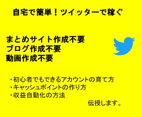 初心者歓迎!Twitterの稼ぎの構造を暴露します 今がチャンス!簡単・コツコツ作業で稼ぐ仕組みを作りましょう イメージ1