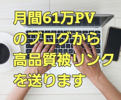 月間61万PVのブログから高品質被リンクを送ります 被リンクによるサイト強化、SEO対策を検討している方に! イメージ1