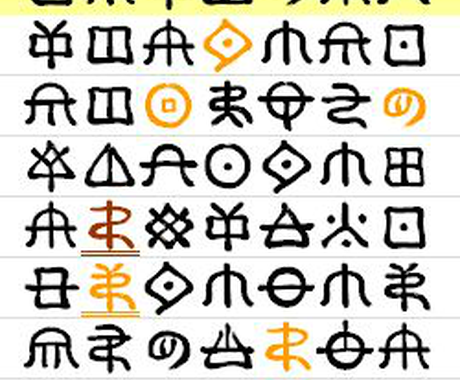 あなただけの神代文字を選びます 神代文字(じんだいもじ)で今のあなたにぴったりの祝詞を。 イメージ1