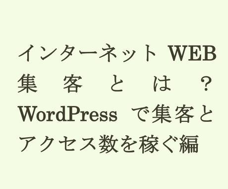今日からできる!インターネットのアクセス数を向上させるWEB集客の方法を教えます。 イメージ1