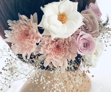 ヘッドドレス・フラワーヘアアクセサリーご制作します 本当の植物を使用したフラワーヘアアクセサリー髪飾り イメージ1