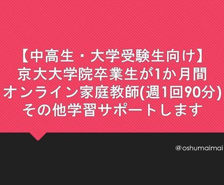 京大大学院卒業生がオンライン家庭教師をいたします 「詰込み型」にとらわれない本質的理解の修得をめざします イメージ1