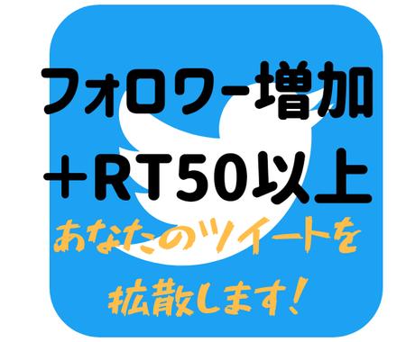 フォロワー増加+Twitter拡散します あなたの渾身のツイートを最低50RT保証で拡散致します! イメージ1
