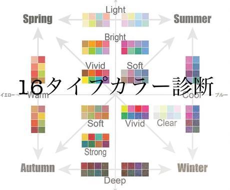 16タイプパーソナルカラー診断します 4シーズン×4タイプの16タイプに分けるカラー診断です! イメージ1
