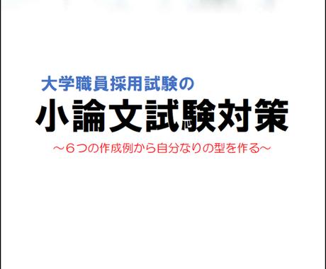 大学職員採用試験の小論文試験の作成例を提供ます 大学職員の小論文試験対策にオススメ イメージ1