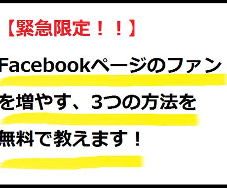 【数量限定無料公開】Facebookページのファンを増やす3つの方法 イメージ1